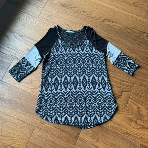 Maurices 3/4 Sleeve Aztec Print Top